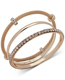 Gold-Tone 3-Pc. Set Crystal Bangle Bracelets, Created for Macy's