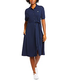 Cotton Belted Polo Shirt Dress