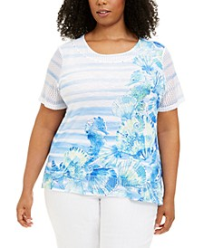 Plus Size Sea You There Mixed-Print Top