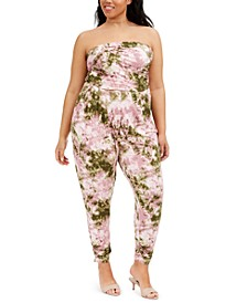 Trendy Plus Size Printed Ruched-Ankle Jumpsuit