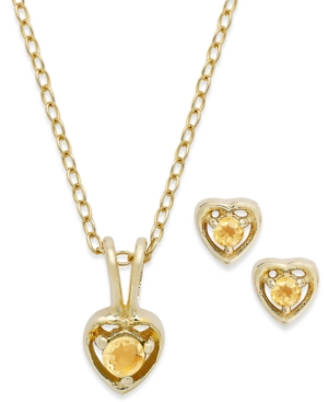 Children's 18k Gold over Sterling Silver Necklace and Earrings Set, November Birthstone Citrine Heart Pendant and Stud Earrings Set (1/5 ct. t.w.)