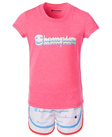 Little Girls 2-Pc. Shadow Logo Script T-Shirt & Allover Logo Shorts Set