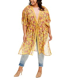 Trendy Plus Size Lace-Trim Kimono