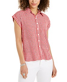 Petite Printed Camp Shirt, Created for Macy's