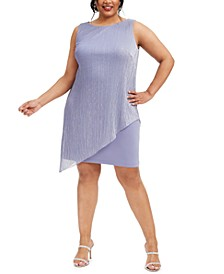 Plus Size Metallic Pleated-Overlay Dress