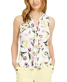 Sleeveless Floral-Print Bow-Neck Top, Created for Macy's