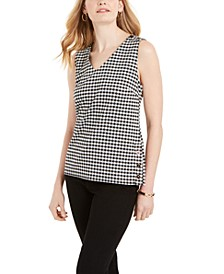 Petite Gingham-Print Button-Detail Top, Created for Macy's