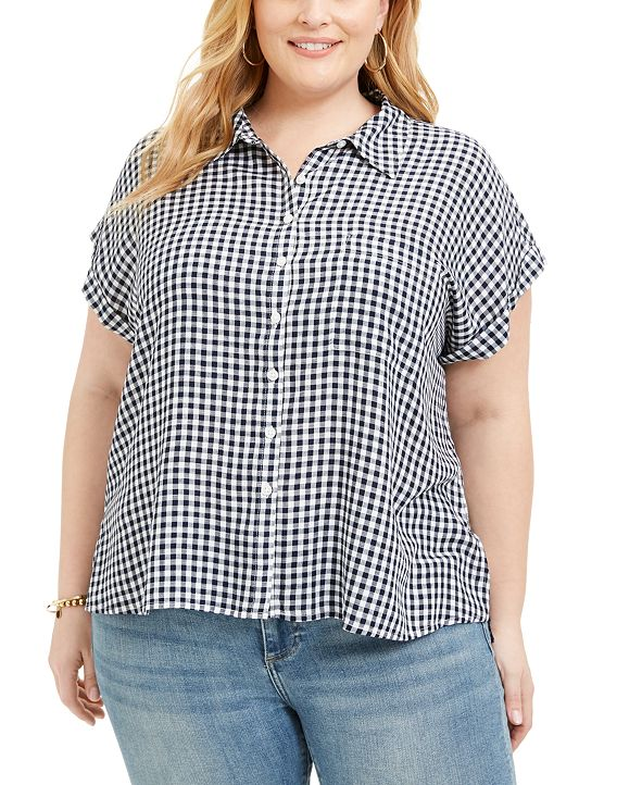 Style & Co Plus Size Gingham Camp Shirt, Created for Macy's