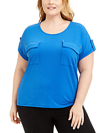 Adrienne Vittadini Plus Size Patch-Pockets Top