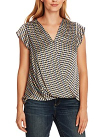 Geo-Print Faux-Wrap Top