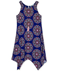 Big Girls Handkerchief-Hem Necklace Dress
