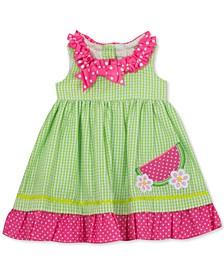 Baby Girls Ruffled Watermelon Seersucker Dress