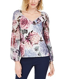 Embellished Floral-Print Puff-Sleeve Top