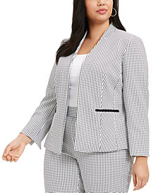 Nine West Plus Size Jacquard-Print Open-Front Blazer