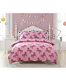 MHF Home Kids Shimmering Glitter Unicorn Comforter Sets