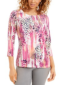 Animal-Print 3/4-Sleeve Jacquard Top, Created for Macy's