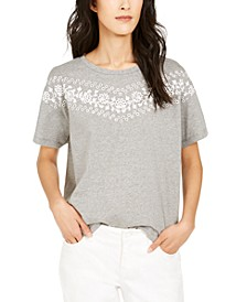 Eyelet-Trim Knit Top