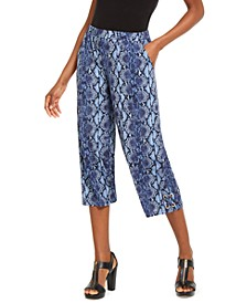 Python-Print Lace-Up Pants