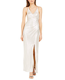 Eliza J Metallic V-Neck Gown