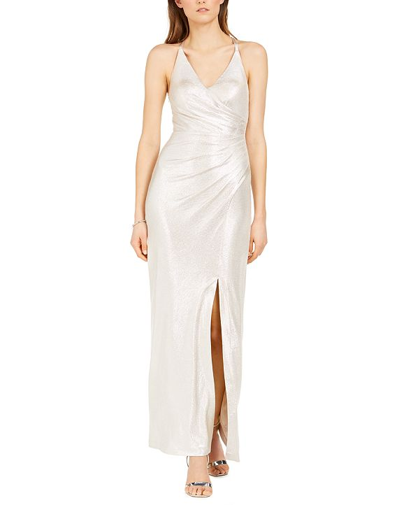 Eliza J Metallic V-Neck Gown
