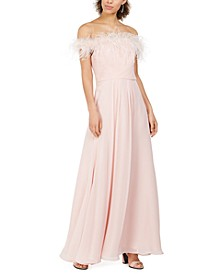 Petite Faux-Feather Off-The-Shoulder Gown