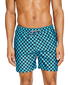 "INC Men's Zane Checkerboard 5"" Swim Trunks, Created for Macy's"