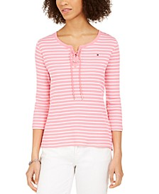Cotton Ribbed Lace-Up Top