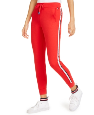 70s Workout Clothes   80s Tracksuits, Running Shorts, Leotards Tommy Hilfiger Sport Logo-Stripe Joggers $44.99 AT vintagedancer.com