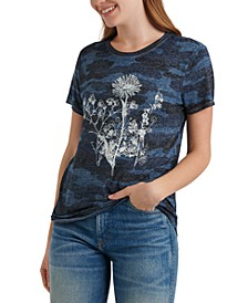 Floral-Graphic Camo-Print T-Shirt