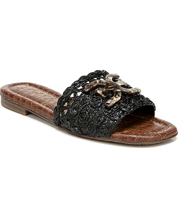 Sam Edelman Backer Raffia Logo Slide Sandals