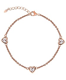 BODIFINE Cubic Zirconia Hearts 10K Rose Gold-Tone Sterling Silver-Tone Anklet