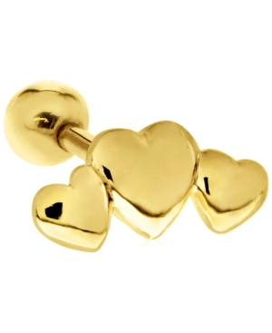 Triple Heart 10K Gold-Tone Tragus Stud