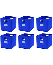 Foldable Storage Bins Basket Cube Organizer with Dual Handles and Window Pocket - 6 Pack