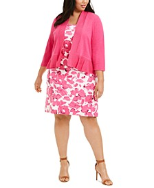 Plus Size Ruffled-Hem Shrug & Floral-Print Crepe Dress