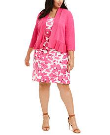 Kasper Plus Size Ruffled-Hem Shrug & Floral-Print Crepe Dress