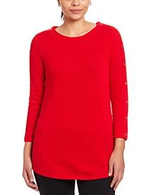 Textured Button-Sleeve Sweater
