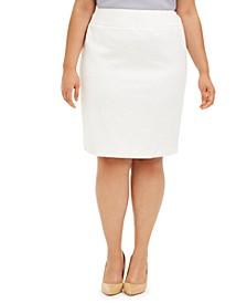 Plus Size Floral Jacquard Skirt