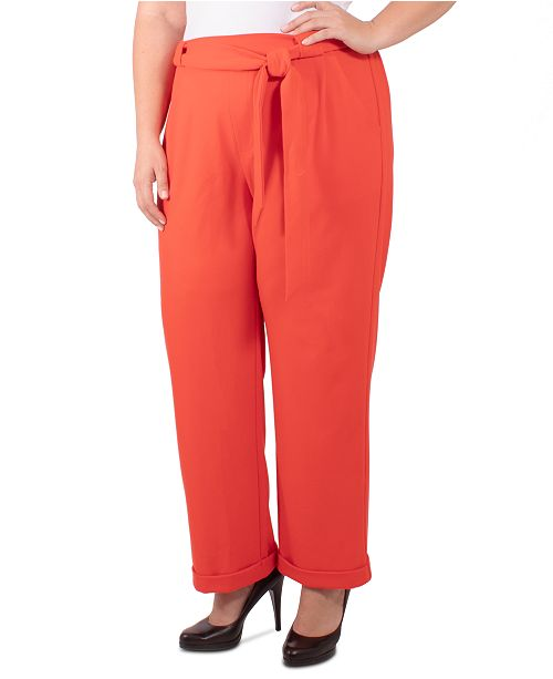 NY Collection Plus Size Tie-Front Pull-On Pants