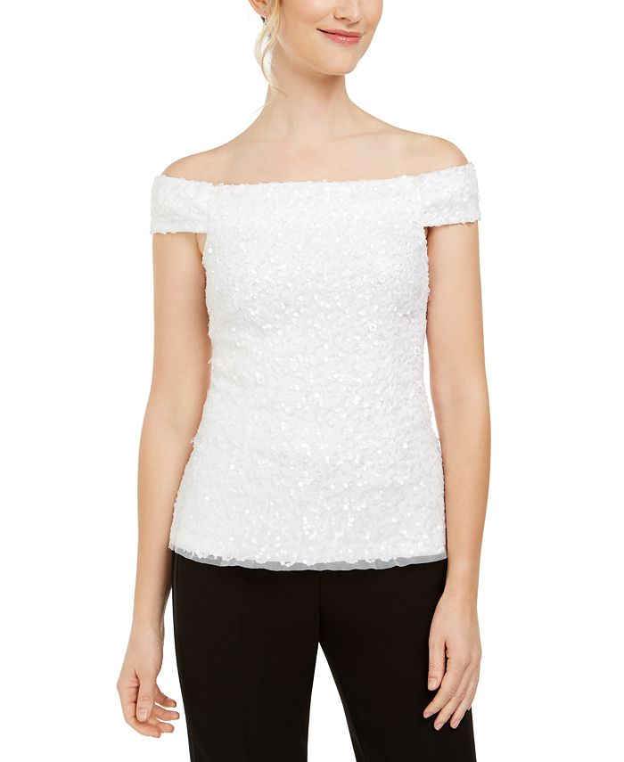 Adrianna Papell - Sequined Off-The-Shoulder Top