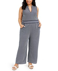 Trendy Plus Size Striped Keyhole Jumpsuit