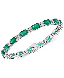 EFFY® Emerald (15-1/5 ct. t.w.) & Diamond (1/3 ct. t.w.) Tennis Bracelet in 14k White Gold