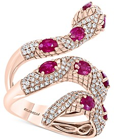 EFFY® Certified Ruby (1-7/8 ct. t.w.) & Diamond (7/8 ct. t.w.) Snake Ring in 14k Rose Gold