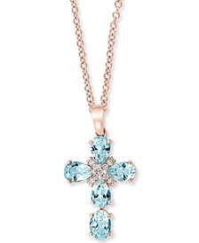 "EFFY® Aquamarine (2 ct. t.w.) & Diamond (1/10 ct. t.w.) 18"" Pendant Necklace in 14k Rose Gold"