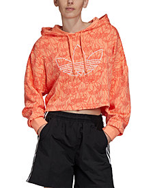 adidas Originals Women's Cotton Logo-Print Cropped Hoodie