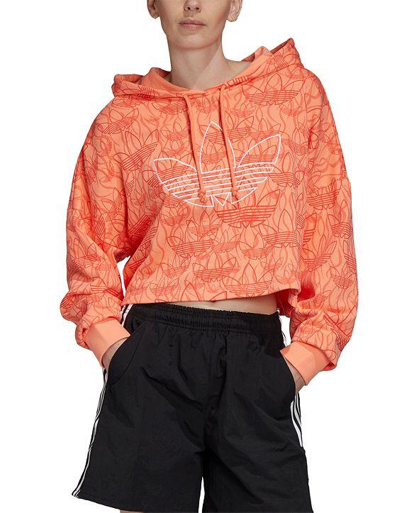 adidas Women's Cotton Logo-Print Cropped Hoodie