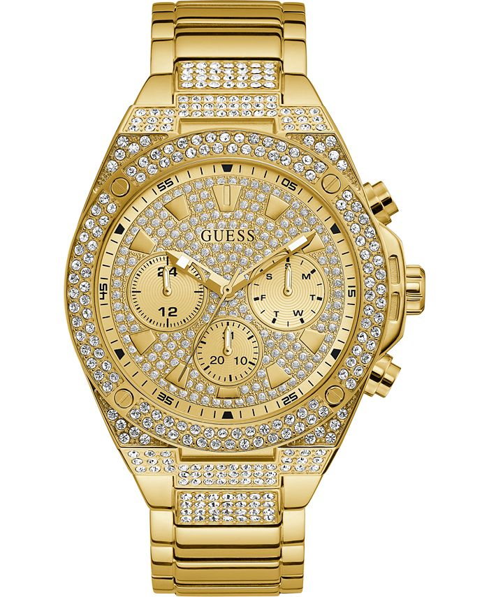 GUESS - Women's Chronograph Gold-Tone Stainless Steel Bracelet Watch 45mm