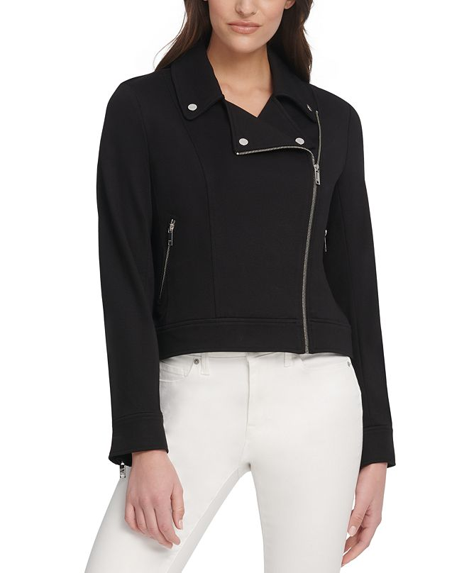 DKNY Soft Textured Moto Jacket