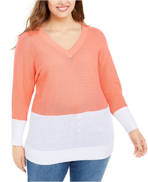 Michael Kors Plus Size Colorblocked Sweater
