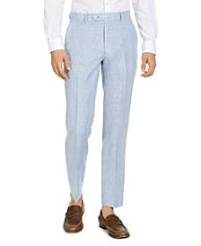 Men's Classic-Fit  Blue & Tan Plaid Linen Suit Separate Pants