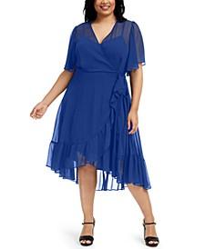 Plus Size Asymmetrical Ruffled Chiffon Dress